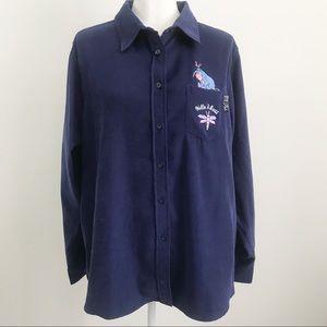 DISNEY Womens shirt Eeyore Blue faux suede XL